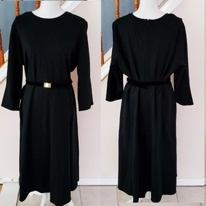 Lauren Ralph Lauren 3/4 Sleeve Black Dress w/ Belt